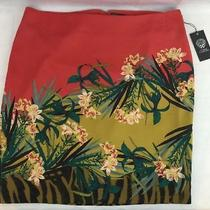 Vince Camuto Womens Skirt Floral Rich Brick Size 14 Nwt Photo