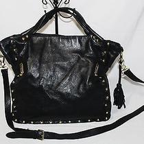 Vince Camuto X-Large Black Soft Leather Gold Bolts Tote Travel Crossbody Bag Photo