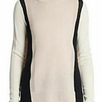 Vince Cashmere Colorblock Sweater S Small 6486 Black White Cream Blush Pink  Photo