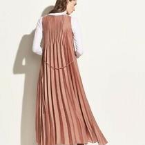 Vince Chevron Pleated Sz M Dress Vintage Rose Blush Midi Sleeveless Fabric Belt Photo