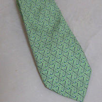 Vineyard Neck Tie Light Green With Golf Clubs Heads of the Clubs Are Whales Photo