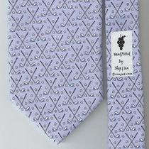 Vineyard Vines 100% Silk Tie / Whale Head Golf Clubs Light Blue W/ Orig Hang Tag Photo