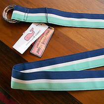 Vineyard Vines 2-Silver Rings Blue Green White Stripes Belt Sz Xxl Nwt Ret. 49 Photo