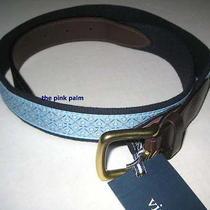 Vineyard Vines 30w Light Blue Golf Club Ball Canvas Leather Club Belt Nwt 30 Photo