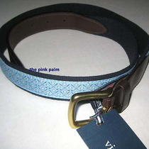 Vineyard Vines 34w Light Blue Golf Club Ball Canvas Leather Club Belt Nwt 34 Photo