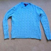Vineyard Vines Aqua Blue Cable Crewneck Sweater L Photo