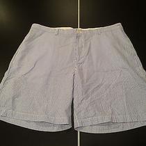 Vineyard Vines Blue White Seersucker Shorts Mens Size 40 Pin Striped Preppy Photo