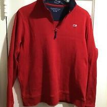 Vineyard Vines Boys Red 1/4 Zip Pullover Shirt Size Xl Red Sweatshirt Euc Photo