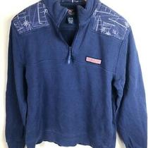 Vineyard Vines Boys Sweatshirt Blue 1/4 Zip Long Sleeve 100% Cotton Pullover L Photo