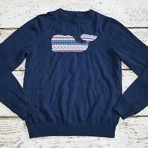 Vineyard Vines Boys Whale Navy Holiday Intarsia Sweater Crew Neck 12 14 Med M Photo