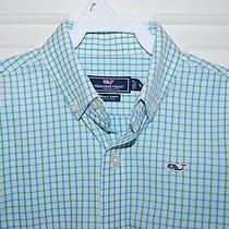 Vineyard Vines Boys Whale Shirt 5 Green Blue Button Down Photo