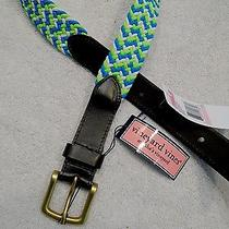 Vineyard Vines Bungie Club Belt Nwt Size 40 49.50 Blue and Green and White Photo
