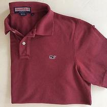 Vineyard Vines by Shep & Ian 100% Cotton Red Burgundy Whale Polo Shirt Sz M Photo