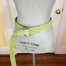 Vineyard Vines by Shep & Ian Xl Yellow With Blue Shark Print D-Ring Belt Photo
