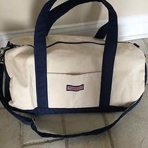 Vineyard Vines Canvas Duffel Bag Suitcase With Golf Digest & Merrill Lynch Logos Photo