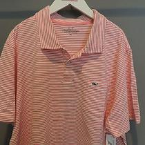 Vineyard Vines Classic Designer Pink Striped Whale Pocket Polo Shirt Xl Nwt    Photo