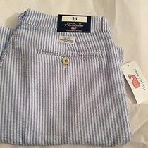 Vineyard Vines Club  Shorts. Sz 34 Seersucker Stripes Breaker Blue Photo