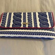 Vineyard Vines Clutch Bag Blue Rope Pattern/ Pink Trim Photo