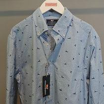 Vineyard Vines Cool Blue Murray Sport Fish Button Front Whale Shirt Sz L Nwt    Photo