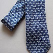 Vineyard Vines Custom Collection Blue Dolphin Pattern Hand Made Tie 100% Silk Photo