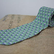 Vineyard Vines Custom Collection Green Navy Blue Torch W/ Laurels Silk Necktie Photo