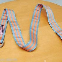 Vineyard Vines D Ring Belt L Blue Orange Chase Stripe Grosgrain Ribbon Style Euc Photo