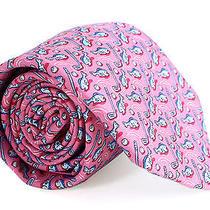 Vineyard Vines Fish and Chipshot Tie Pink Silk Mens Necktie New Photo