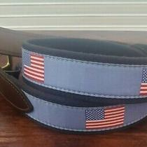 Vineyard Vines Flag Leather Canvas Club Belt Usa Flag Sky-Blue Chambray Sz 32 Photo