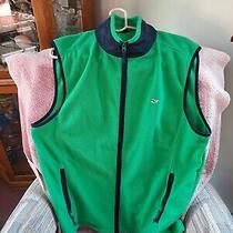 Vineyard Vines Full Zip Fleece Vest Mens Size Large L Green Blue Pockets Whale Photo