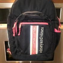 Vineyard Vines Girl's Tech Backpack Navy Blue Pink  Laptop  School  Overnight Photo