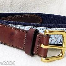 Vineyard Vines - Golf Clubs Light Blue Leather Canvas Club Belt - Size 36 Photo