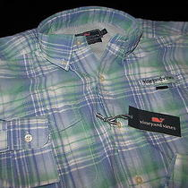 Vineyard Vines Harbor Shirt Marine Park Plaid Jake Blue M Medium  New 1w0984-456 Photo