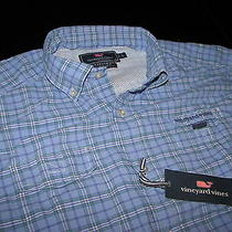 Vineyard Vines Harbor Shirt Parkland Plaid Hydrangea  M  Medium  1w0803-458 Photo
