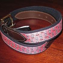 Vineyard Vines Kentucky Derby Mens Seahorse Club Belt New Size 30 Raspberry Red Photo