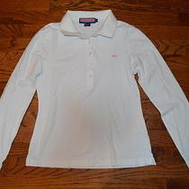 Vineyard Vines Ladies S Classic White Polo Shirt Long Sleeve Pink Whale Logo Euc Photo