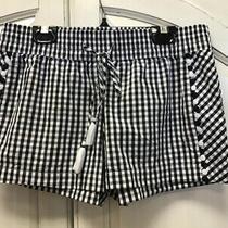 Vineyard Vines Ladies Size Xs Black White Checkered Drawstring Shorts Photo
