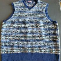 Vineyard Vines Large Sweater Vest by Shep Ian 100% Lambswool Blue Brown Pink Photo