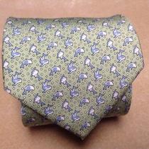 Vineyard Vines  Light Green-Dolphine  Print Men's Neck Tie 100% Silk. Photo