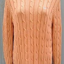 Vineyard Vines Light Orange Cable Knit Crewneck Sweater Size M Photo
