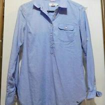 Vineyard Vines Ls Pull on 1/2 Button Top Blue Chambray Long Shirt Size 2 Photo