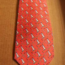 Vineyard Vines Martha Vineyard Silk Tie Pink W/ Golf Clubs and Eagles on It Photo