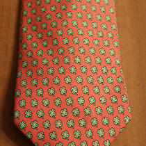 Vineyard Vines Martha Vineyard Silk Tie Pink W/ Green Clovers All Over It Photo