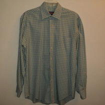 Vineyard Vines Men's Burgee Whale Shirt Sz M Long Sleeves Blue Green White Plaid Photo
