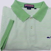 Vineyard Vines Men's Short Sleeve Polo Shirt Sz L Large Green Striped Photo