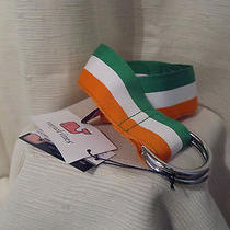 Vineyard Vines Men's Small Stripe - Green Orange & White - D-Ring Belt Photo