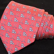 Vineyard Vines Men's Tie Pink & Blue/golf Clubs  3.75