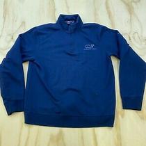 Vineyard Vines Men Size Small Blue Whale Sleeve Spellout 1/4 Zip Sweatshirt Euc  Photo