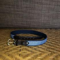 Vineyard Vines Mens 30-32 Belt Whale Logo Italian Brown Leather Blue Fabric Usa Photo