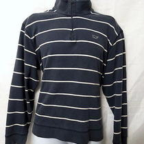 Vineyard Vines Mens Blue White Horizontal Striped Half Zip sweater.l.cheap Photo