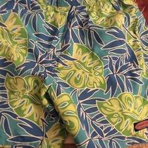 Vineyard Vines Mens Chappy Trunk Tropical Leaves Blue Swim Shorts S  Sale Photo